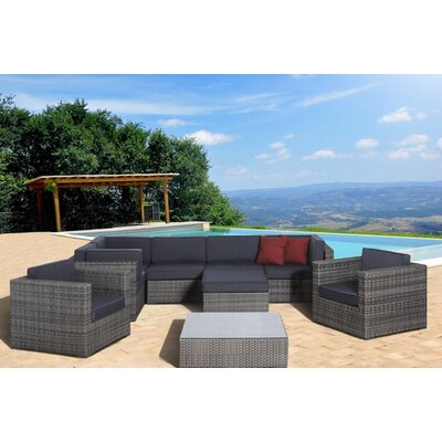 Southampton 9 Piece Sectional Deep Seating Group with Cushions Fabric: Grey