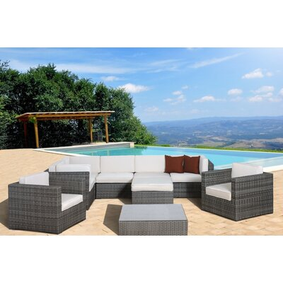 Southampton 9 Piece Sectional Deep Seating Group with Cushions Fabric: Off-White