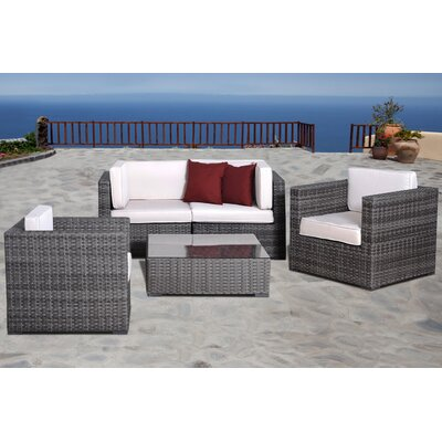 International Home Miami Atlantic 5 Piece Deep Seating Group with Cushions - Fabric: Off-White at Sears.com