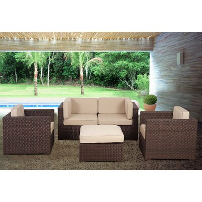 St.Tropez 5 Piece Deep Seating Group with Cushions Fabric: Sunbrella Brown