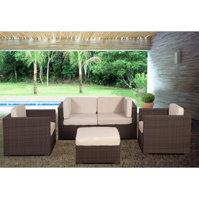 St.Tropez 5 Piece Deep Seating Group with Cushions Fabric: White