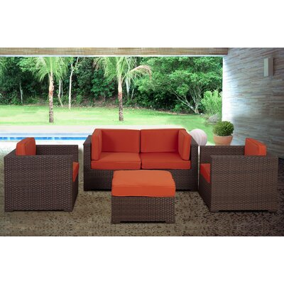 St.Tropez 5 Piece Deep Seating Group with Cushions Fabric: Orange