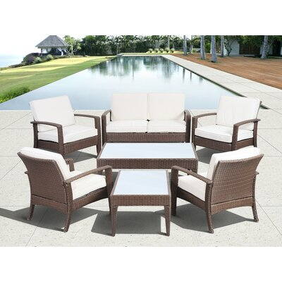 International Home Miami Atlantic Java 7 Piece Lounge Seating Group with Cushion - Color: Brown / Off-White at Sears.com