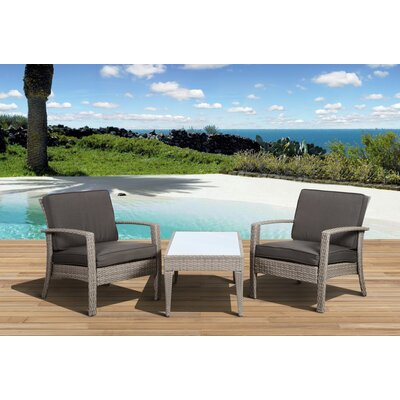 Atlantic Java 3 Piece Seating Group with Cushions Color: Grey / Grey