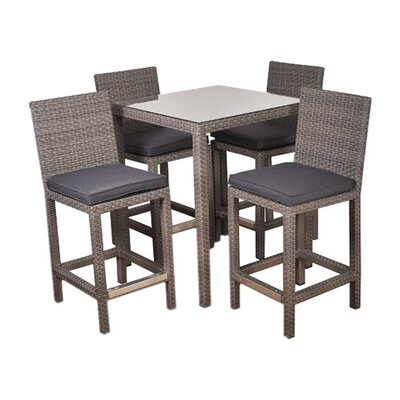 Atlantic Martinique 5 Piece Bar Set Cushion Color: Grey