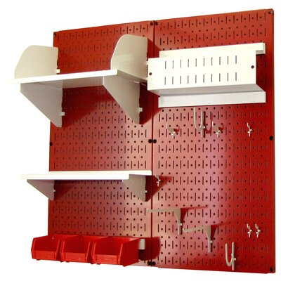 Wall Control Hobby Craft Pegboard Organizer Storage Kit - Color: Red and White