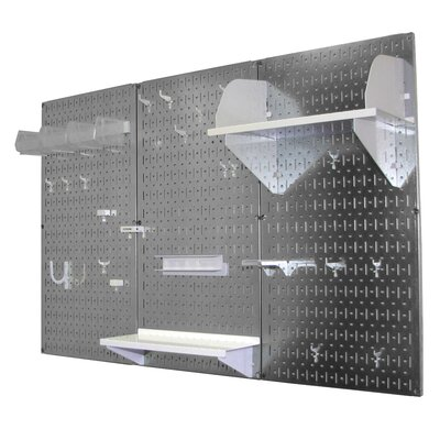 Wall Control Pegboard Standard Tool Storage Kit - Color: Galvanized and White