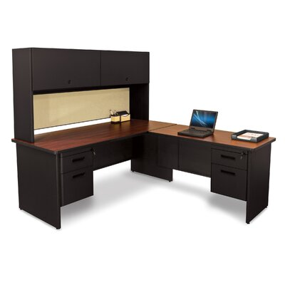 Pronto Return and Pedestal L-Shape Executive Desk with Hutch Top Finish: Mahogany