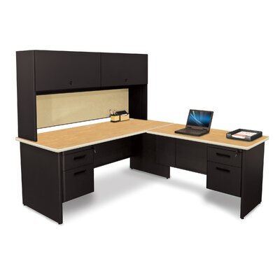 Pronto Return and Pedestal L-Shape Executive Desk with Hutch Top Finish: Oak