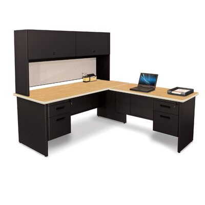 Pronto L-Shape Return Executive Desk with Lock and Drawers Top Finish: Oak Product Picture 757