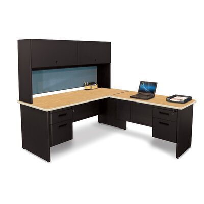 Pronto L-Shape Executive Desk with Hutch Top Finish: Oak