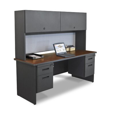 "Marvel Office Furniture Pronto 72"" Double File Computer Desk Credenza with Flipper Door Cabinet - Color: Mahogany Laminate/Dark Neutral at Sears.com"