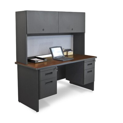 "Marvel Office Furniture Pronto 60"" Double File Computer Desk Credenza with Flipper Door Cabinet - Color: Mahogany Laminate/Dark Neutral at Sears.com"
