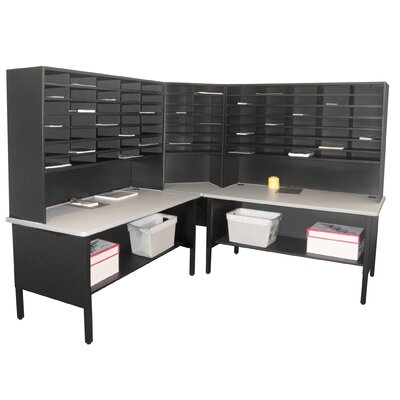 84 Slot Corner Literature Organizer Color: Black Textured Steel/Gray Laminate Surface Product Picture 3365