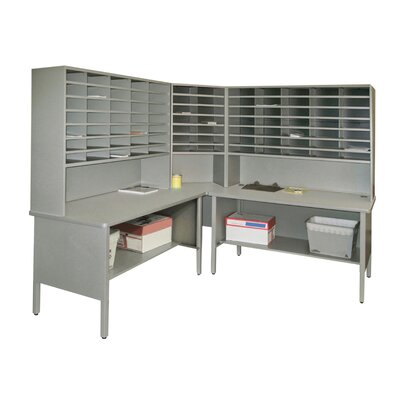 84 Compartment Mailroom Organizer Color: Gray Textured Steel/Gray Laminate Surface