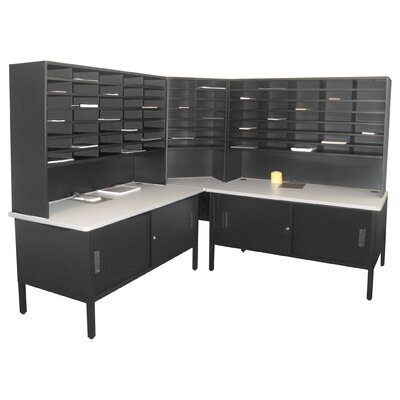 84 Compartment Mailroom Organizer Color: Black Textured Steel/Gray Laminate Surface