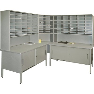 84 Slot Corner Literature Organizer with Cabinet Color: Gray Textured Steel/Gray Laminate Surface Product Picture 650