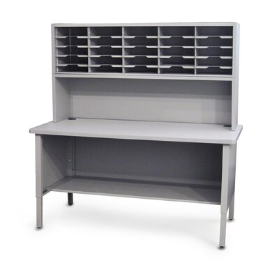 25 Compartment Mailroom Organizer Color: Gray Textured Steel/Gray Laminate Surface