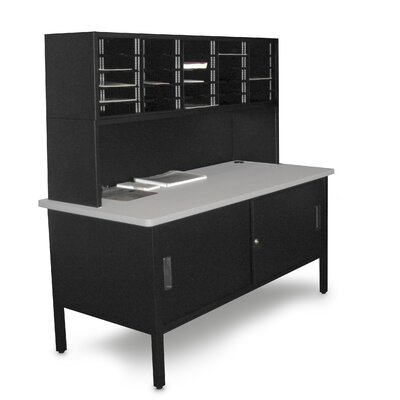 25 Compartment Mailroom Organizer Color: Black Textured Steel/Gray Laminate Surface