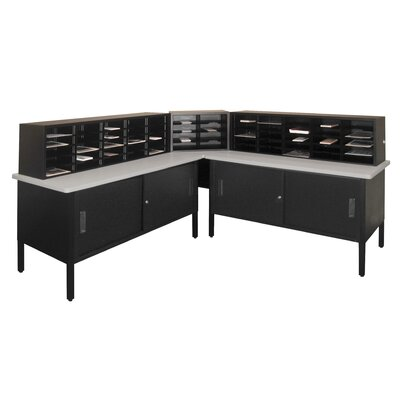 60 Compartment Mailroom Organizer Color: Black Textured Steel/Gray Laminate Surface