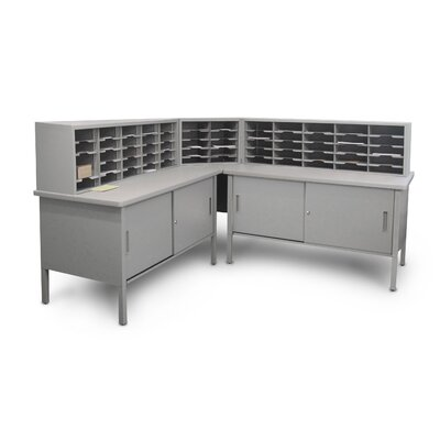 60 Compartment Mailroom Organizer Color: Gray Textured Steel/Gray Laminate Surface
