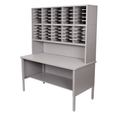 50 Compartment Mailroom Organizer Color: Gray Textured Steel/Gray Laminate Surface