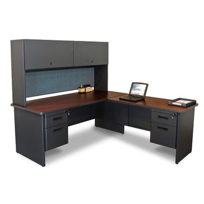 Pronto L-Shape Executive Desk with Hutch Top Finish: Mahogany