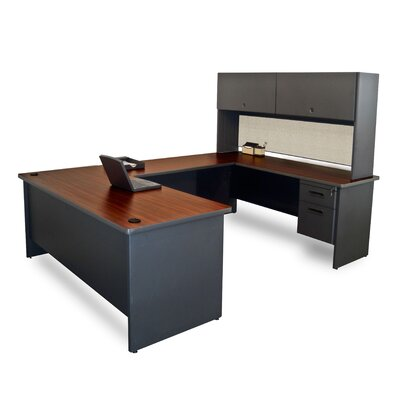 Pronto U-Shape Executive Desk with Door Finish: Mahogany/Dark Neutral Product Picture 650