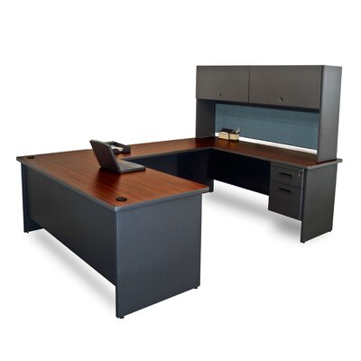 Pronto U-Shape Executive Desk Finish: Mahogany/Dark Neutral
