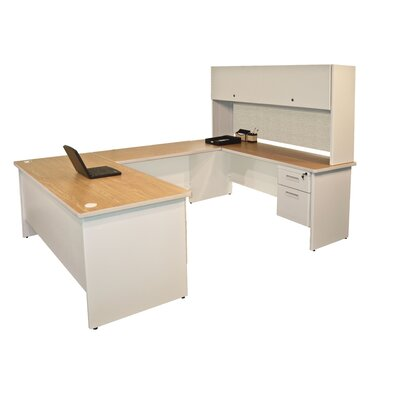 Pronto U-Shape Executive Desk with Door Finish: Oak/Putty Product Picture 3365