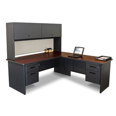 Pronto Return L-Shape Executive Desk with Hutch Finish: Mahogany/Dark Neutral