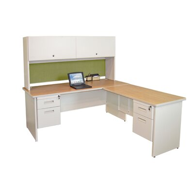 Pronto L-ShapeExecutive Desk with Pedestal Finish: Oak/Putty Product Picture 757