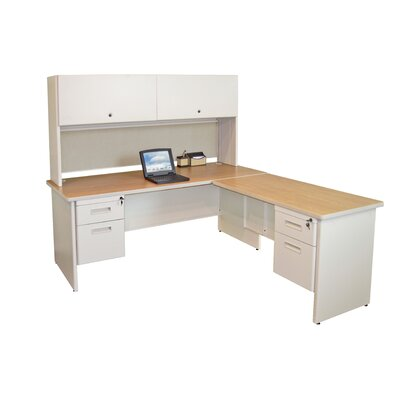 Pronto Return L-Shape Executive Desk with Hutch Finish: Oak/Putty