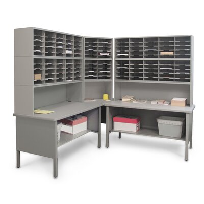 120 Adjustable Slot Corner Literature Organizer Color: Gray Textured Steel/Gray Laminate Surface Product Picture 810