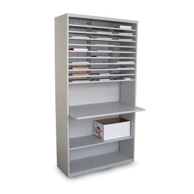 Mail Sorter Workstation with Adjustable Work Surface Finish: Slate Gray
