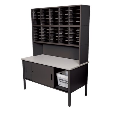 50 Compartment Mailroom Organizer Color: Black Textured Steel/Gray Laminate Surface