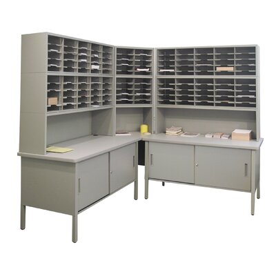 120 Compartment Mailroom Organizer Color: Gray Textured Steel/Gray Laminate Surface