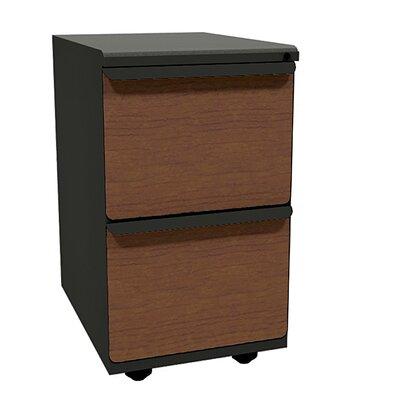Zapf 2-Drawer Mobile Pedestal File Cabinet Drawer Finish: Collectors Cherry Laminate, Base Finish: Dark Neutral