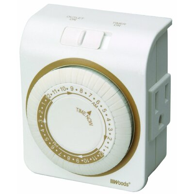 Grounded Plug 24-Hour Heavy Duty Mechanical Outlet Timer