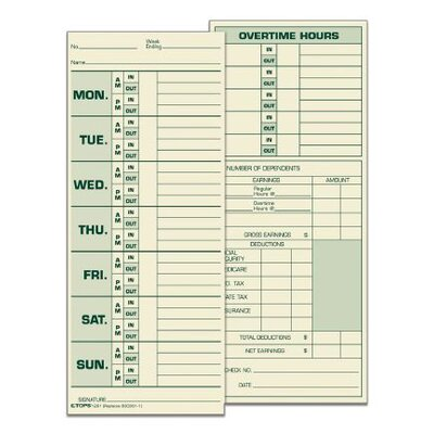 Manila Weekly Time Card