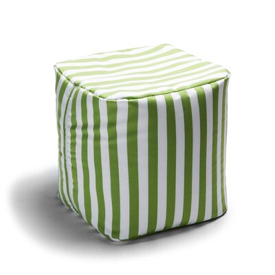 Ayala Striped Square Outdoor Pouf Ottoman Upholstery: Lime Stripe