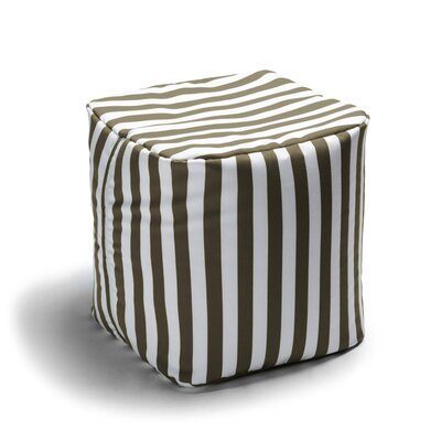 Ayala Striped Square Outdoor Pouf Ottoman Upholstery: Taupe Stripe