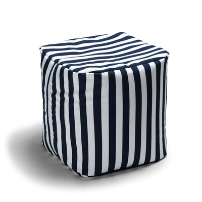 Ayala Striped Square Outdoor Pouf Ottoman Upholstery: Navy Stripe