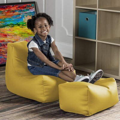 Juniper Kids Chair and Ottoman Color: Yellow