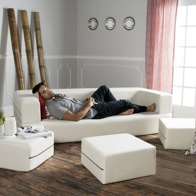 Zipline Convertible Sleeper Sofa with Ottomans Upholstery: Natural