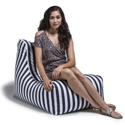 Ponce Outdoor Striped Patio Lounge Chair Upholstery: Navy Striped