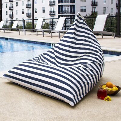 Twist Outdoor Bean Bag Chair Upholstery: Navy Striped
