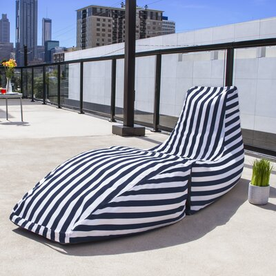 Prado Outdoor Striped Bean Bag Chaise Lounge Chair Color: Navy Stripe