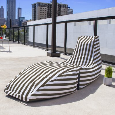 Prado Outdoor Striped Bean Bag Chaise Lounge Chair Color: Taupe Stripe