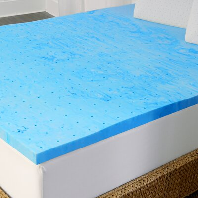 2 Gel Memory Foam Mattress Topper Size: California King